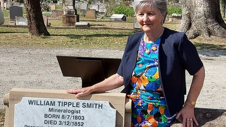 Lynette Silver at the grave of Wiiliam Tipple Smith Picture: JANIS NATT