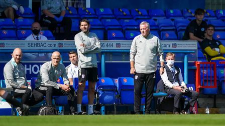 Town manager Paul Lambert and his assistant Stuart Taylor watch from the touchline.Picture: