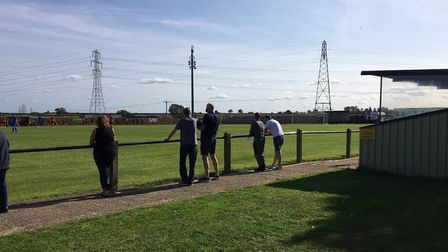 Social distancing at the FA Cup tie between Cogenhoe United and Bury Town in Northamptonshire this a