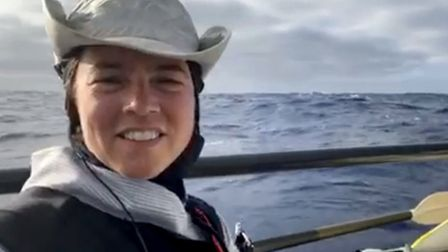 Solo rower Lia Ditton, who grew up in Suffolk, seen here at sea Picture: LIA DITTON