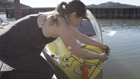Solo rower Lia Ditton, preparing to cast off Picture: DYLAN REEVES