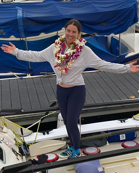 Solo rower Lia Ditton, pictured here after her arrival at Waikiki Yacht Club in Hawaii Picture: WES