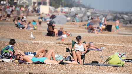 People flocked to Felixstowe beach as temperatures soared into the 30's in August. Picture: SARAH L