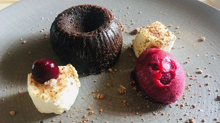 Review, The Fox and Goose Fressingfield - Chocolate fondant with cherry gel, cherry sorbet and toast