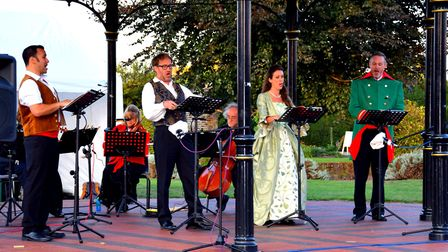 Performers take to the stage in Elmhurst Park, Woodbridge Picture: CHARMIAN BERRY