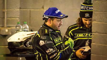 Chris Harris and Richard Lawson, pictured in the pits. Picture: Taylor Lanning