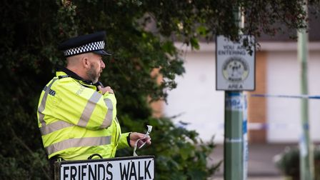 A police cordon remained in place for more than 24 hours after the shooting in Friends Walk, Kesgrav