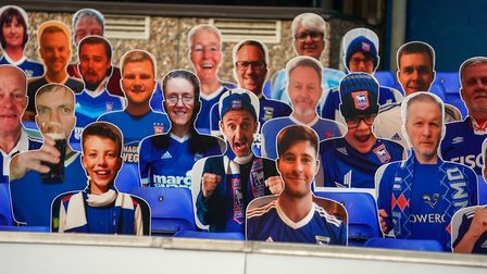 There are cardboard cutouts of fans at Portman Road for the time being Picture: STEVE WALLER