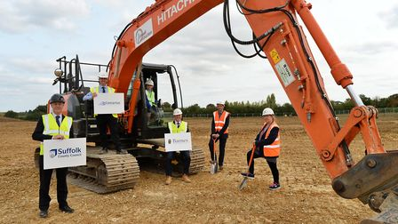 The groundbreaking ceremony at the new Thurston Primary Academy. Pictured are Philip Mackay, chief e