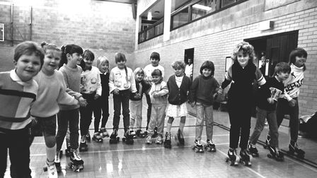 Roller skating at Gainsborough Sports Centre in Ipswich in February 1988 Picture: ARCHANT