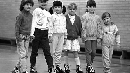 Half-term roller skating at Gainsborough Sports Centre in Ipswich in February 1988 Picture: ARCHANT