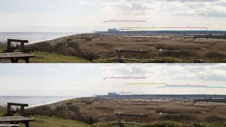 Visualisation showing view of construction period from National Trust Dunwich Heath. Highest point (
