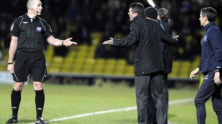 Roy Keane is unhappy with the referee during Town's defeat at Vicarage Road in March, 2010. Picture