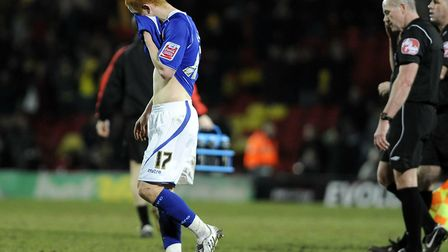 Disappointment for Jack Colback at the final whistle after a 2-1 defeat at Watford. Town's players w