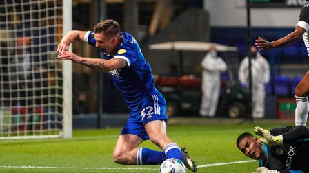 A rare attacking moment for Town against Fulham as Oli Hawkins goes to ground. Picture: STEVE WALLER