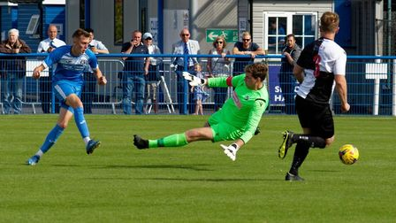 Liam Jackson scores his second goal of the game in Leiston's comfortable victory over Halstead in th
