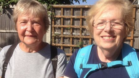 Rosemary Jewers, left, and her walking companion Rina Adams, will be tracing the ancient Roman route