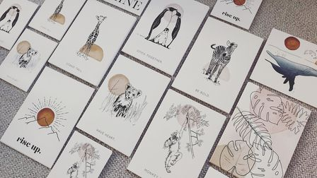 A selection of Gemma's prints, featuring animals and inspirational messages. With no weddings in 202