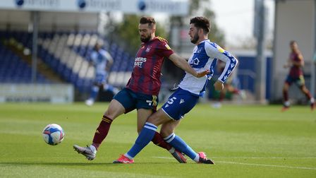 Gwion Edwards challenges at Bristol Rovers. Picture Pagepix Ltd