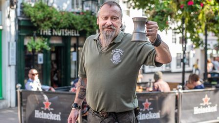 The Nutshell in Bury St Edmunds has now reopened with a new space outside. Bartender Paul Bradley P