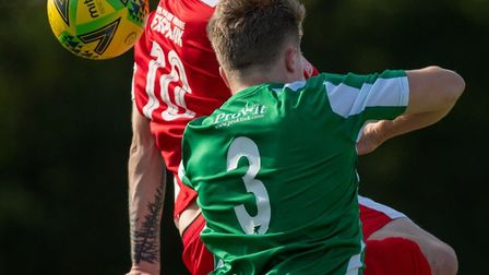 Action from this afternoon's Isthmian League North fixture between Great Wakering Rovers and Felixst