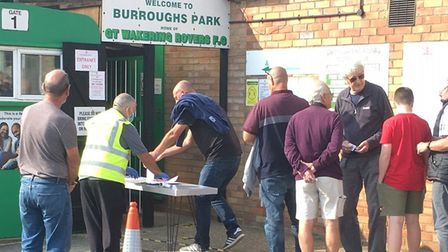 Suuporters queuing up to gain entry to Great Wakering Rovers for the visit of Felixstowe & Walton, w