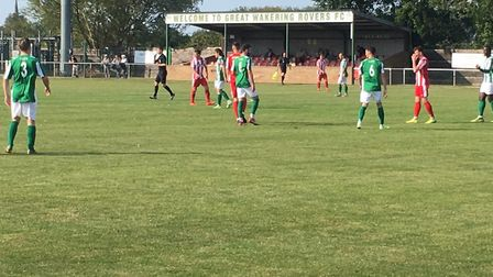 The scene at Burroughs Park, the home of Great Wakering Roers, for the visit of Felixstowe & Walton