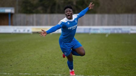 Bury Town's Cruise Nyadzayo, who scored the only goal of the game in the 1-0 victory at Basildon Uni