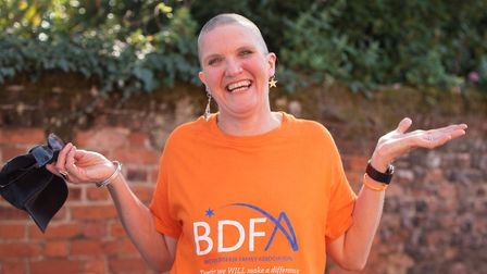 Sarah Casey after her head shave for the Battens Disease Family Association Picture: SARAH LUCY BROW