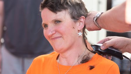 Sarah Casey has shaved her head to raise money for her nephew's young son, who has Battens disease.
