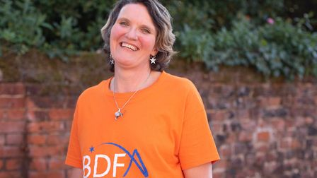 Before: Sarah Casey has shaved her head to raise money for the Batten's Disease Family Association P