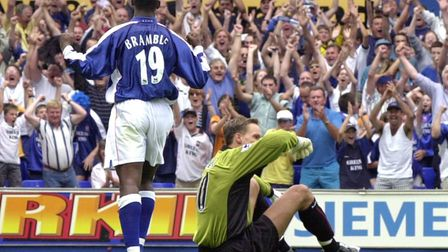 Titus Bramble celebrating his goal against Sunderland in August 2000. It was Town's first win in the
