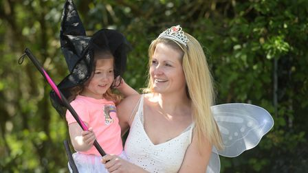 Crystal Stanley, who founded the rainbow trail in Ipswich and her daughter Arianna Picture: SARAH