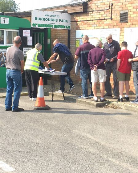 Fans queuing up to gain entry to Great Wakering Rovers last weekend, for the Isthmian League opener