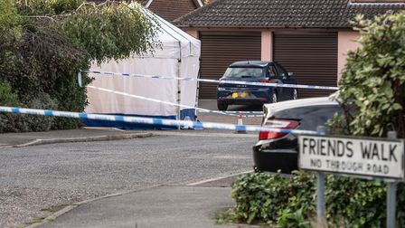 A white police forensics tent at the scene of the shooting in Friends Walk, Kesgrave. Picture: SARAH