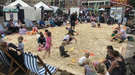 A beach in Bury St Edmunds as part of the Whitsun Fayre in the Suffolk market town last year Picture