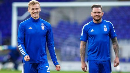 Flynn Downes and James Norwood pictured ahead of Wednesday night's Carabao Cup loss to Fulham. Photo
