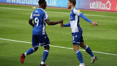 Luke Leahy (right) celebrates with Brandon Hanlon after outting Bristol Rovers 1-0 up at Sunderland