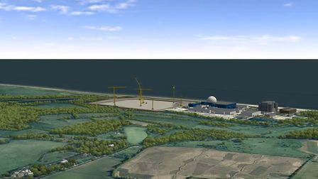 CGI image from Sizewell C video, showing cranes during construction Picture: SIZEWELL C