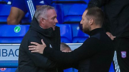 Town manager Paul Lambert and Bristol Rovers manager Ben Garner after the final whistle of Town's 3-