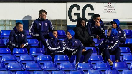 Kayden Jackson (left) with other players also not in the squad, for the Fulham Carabao Cup game.