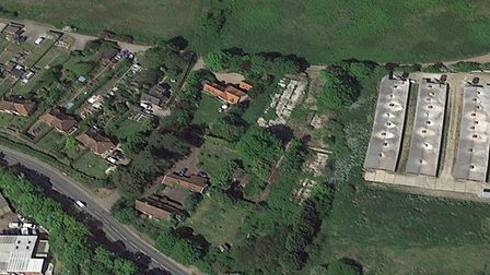 The five new homes are planned to be built in Stowupland Road, Stowmarket Picture: GOOGLE EARTH