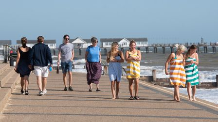 People were out and about in Southwold despite the windy weather Picture: SARAH LUCY BROWN