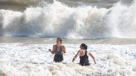 People were enjoying the huge waves in Southwold Picture: SARAH LUCY BROWN