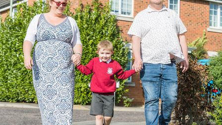 Nicola and Glenn Carpenter, 44, with their son, Alec, aged four, who is preparing for his first day