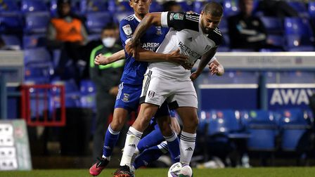 Andre Dozzell, pictured battling Fulham's Aleksandar Mitrovic. Picture: PA