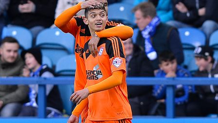 Andre Dozzell celebrates scoring on his debut at Sheffield Wednesday with David McGoldrick in 2016.