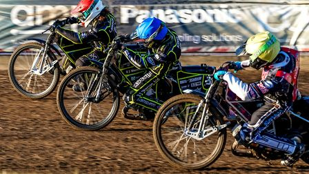 Richard Lawson and Danny King get the better of Scott Nicholls in heat one. Picture: Steve Waller