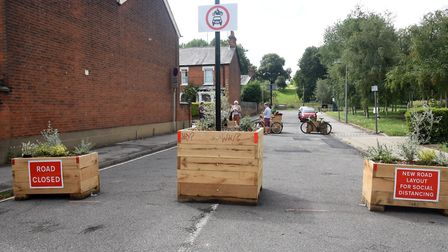 The Bury St Edmunds temporary cycle lanes follow those added in Ipswich. Picture: CHARLOTTE BOND