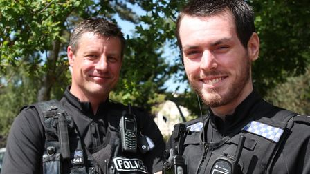 PC Peter French and Jordan Tuck from Suffolk Police, who have been nominated for a bravery award Pi